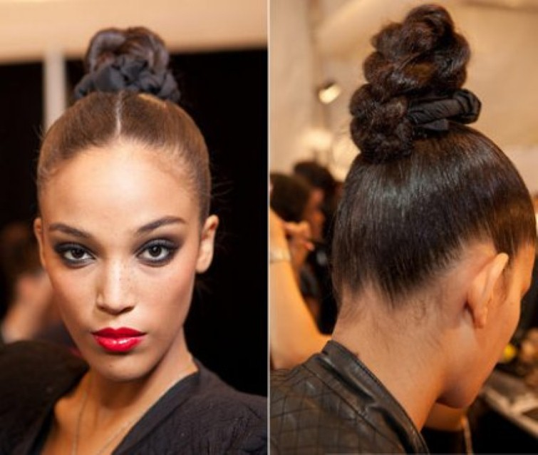 25 updo hairstyles for black women 3twisty top knot black hair updo pmusecretfo Images