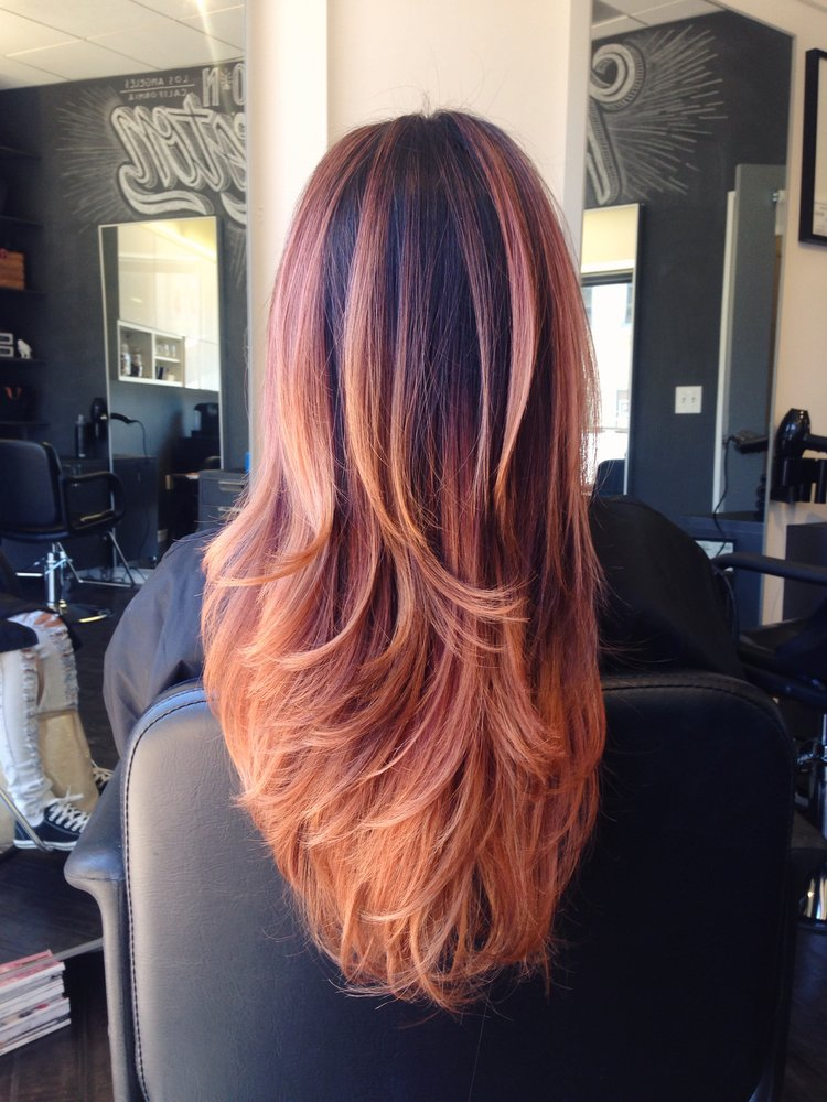 20 different shades of strawberry blonde hair long hair with lots of layers is perfect for showing off dimensional color roots are left a dark brunette shade that helps to make the strawberry blonde pmusecretfo Image collections