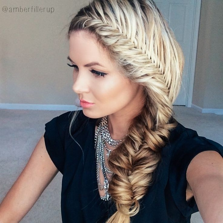 Fishtail Braid Hairstyles laced fishtail braid 1blonde And Brown Ombre Side Braid