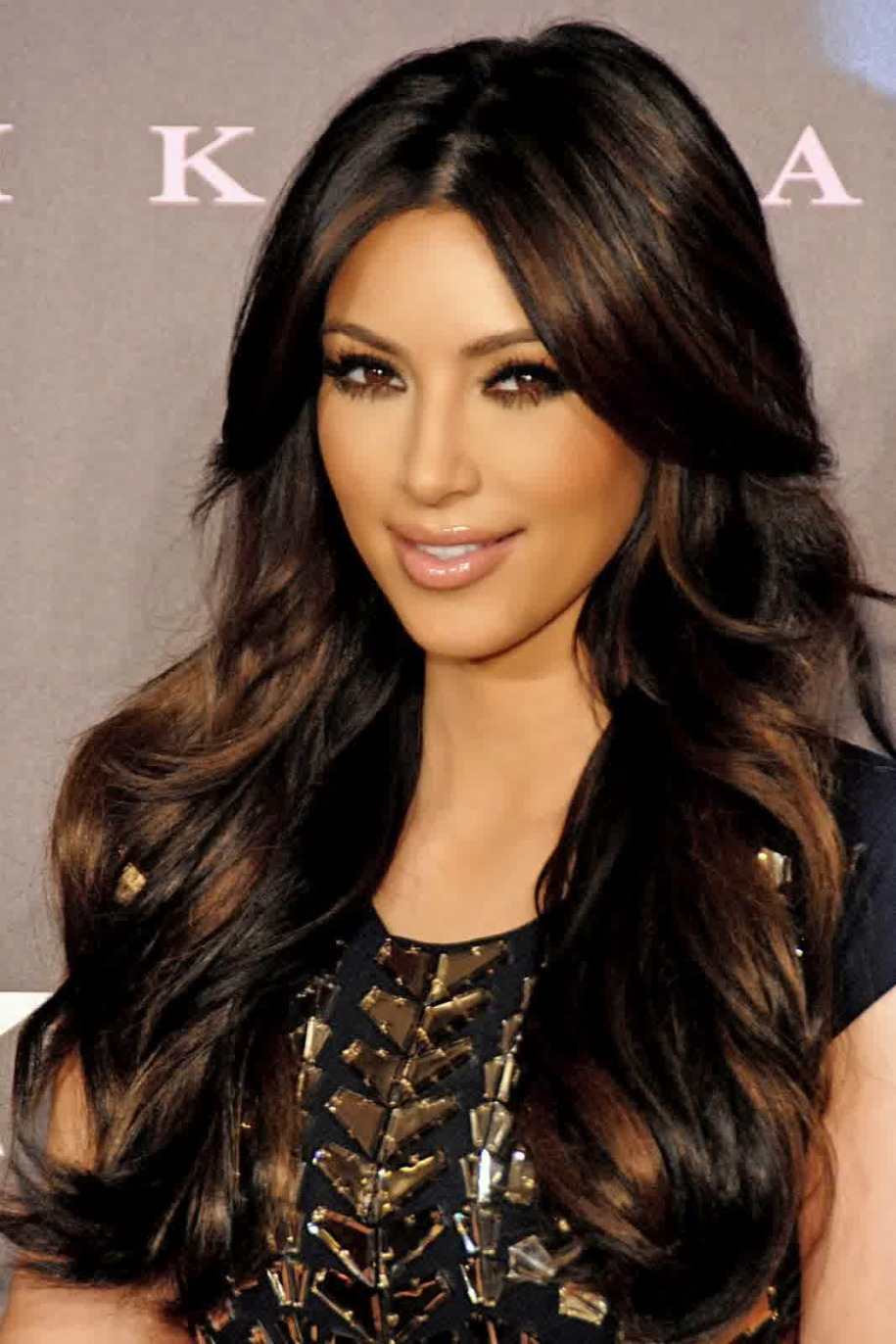 Honey brown highlights on black hair brown hairs hair highlight ideas here is kim k rocking a super chic and dark look she is wearing her famous brown pmusecretfo Image collections