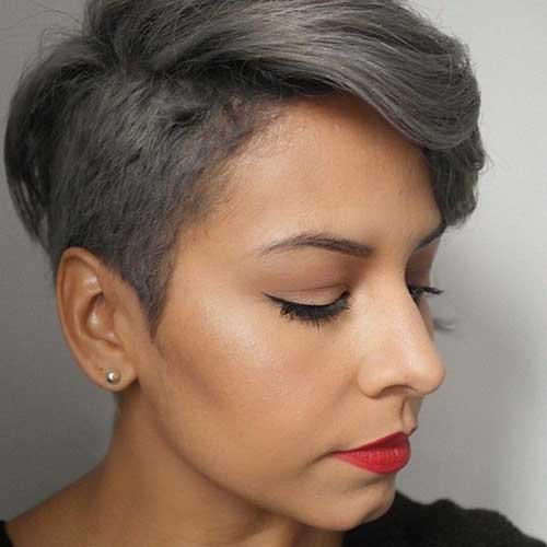 With grey becoming one of the biggest trends in hair color, going grey is bold but rocking it with an undercut is even bolder. This close cut on the sides