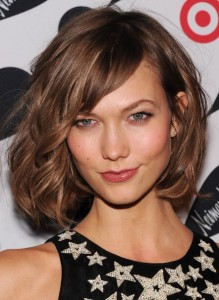 Layered chin length bob with side bangs