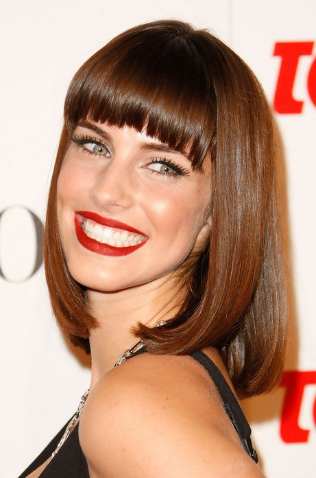 This long Bob, or Lob haircut with blunt bangs is super flattering ...