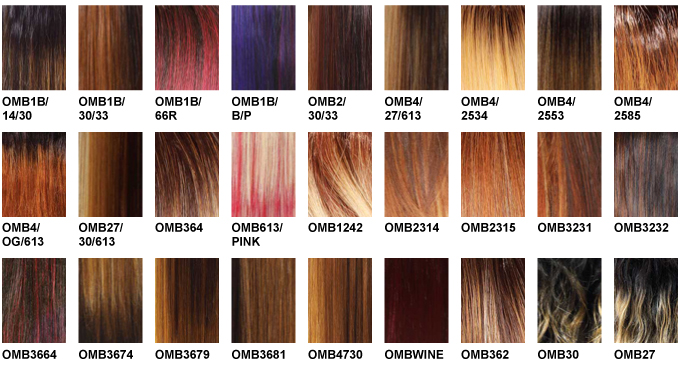 Ombre Hair Color chart