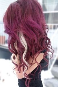 20 burgundy hair colors and styles part 12 the two unexpected strips of cool platinum blonde in this models otherwise cheery and rich burgundy hair create a unique and stunning color combination urmus