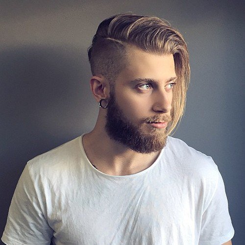 As a general rule, the longer hair is on top, the edgier an undercut  hairstyle will look. This blonde hair is chin length in front, but tapers  slightly in