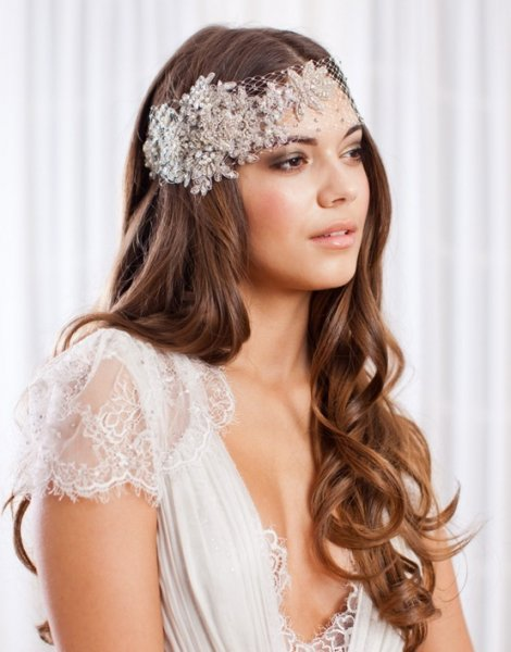 30 stunning wedding hairstyles for long hair 18vintage headband junglespirit Images