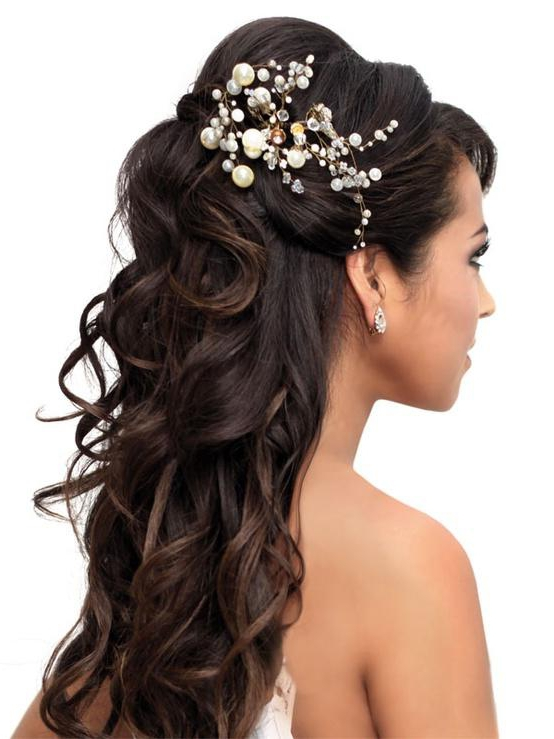 30 stunning wedding hairstyles for long hair part 26 27half up with curls junglespirit Images