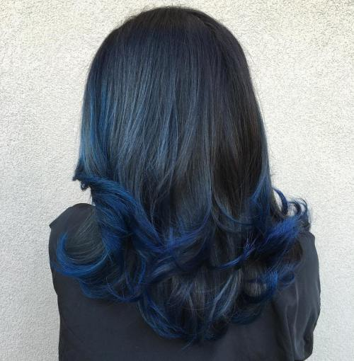 Blue black hair tips and styles dark blue hair dye styles with midnight blue highlights painted on to a natural black background this style showcases the amazing results when you combine modern coloring techniques pmusecretfo Choice Image