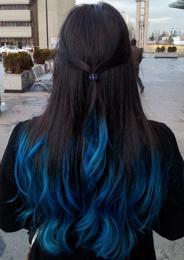 Blue black hair tips and styles dark blue hair dye styles with the lower half of hair in a bright cerulean blue this is a good blue black choice if youre concerned about lightening all of your hair in order to pmusecretfo Gallery