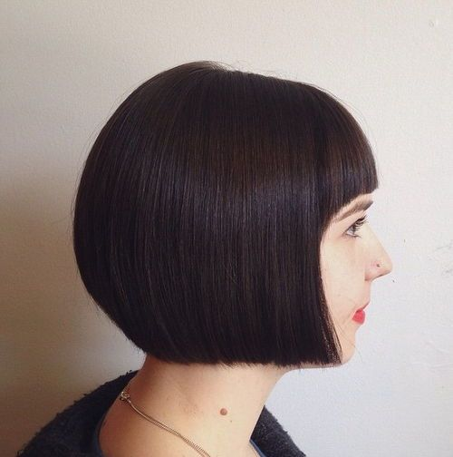 Short graduated bob haircut back view