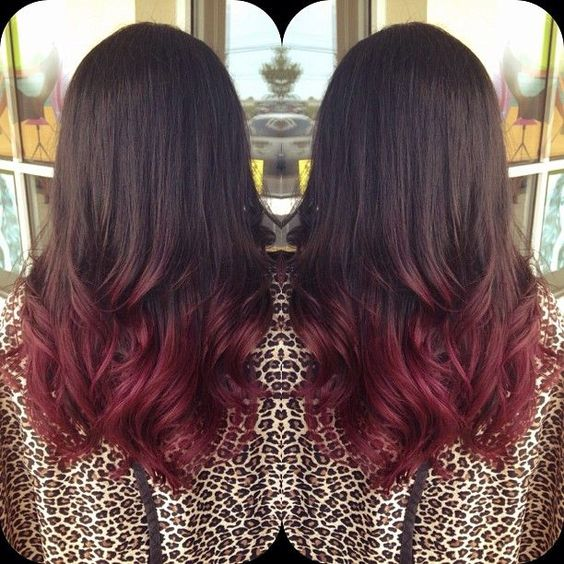 30 dark red hair color ideas sultry showstopping styles part 2 give the ends of your dark brunette hair a tasty update with this cherry colored ombre because the two shades arent wildly different you can be quite urmus Gallery