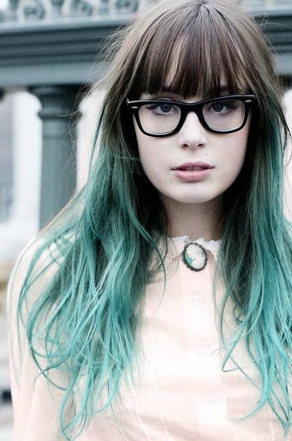 30 blue ombre hair color ideas for bold trendsetters for Pastel teal paint