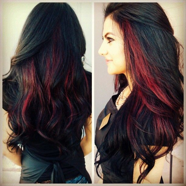 30 dark red hair color ideas sultry showstopping styles 27peekaboo highlights in dark red pmusecretfo Images