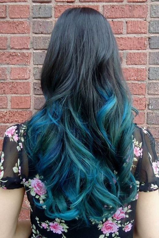 30 blue ombre hair color ideas for bold trendsetters 18peacock shades ombre pmusecretfo Image collections
