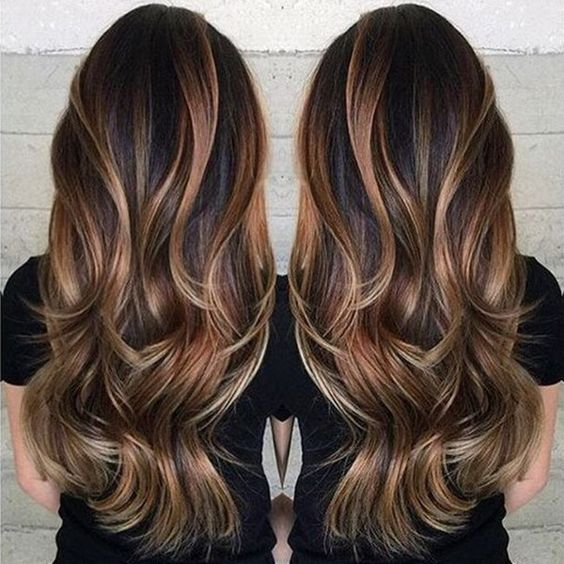 35 gorgeous highlights for brightening up dark brown hair bold balayage highlights in a warm caramel shade bring a dramatic color contrast when paired with a dark brown base color if you love high drama hair color urmus Images