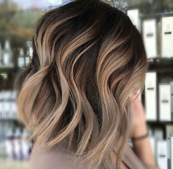 35 balayage styles and color ideas for short hair 1chocolate lob with blonde balayage urmus Images