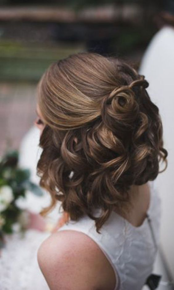 35 modern romantic wedding hairstyles for short hair 11half up pinned rosettes junglespirit Images