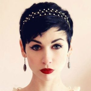 close cropped pixie with headband