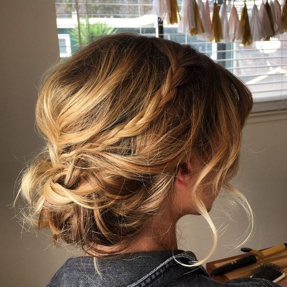 35 chic messy updo hairstyles for luxuriously long hair 4fancy updo with mini braid pmusecretfo Gallery