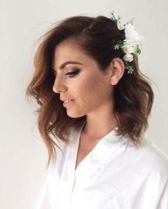 side pinned lob with curls