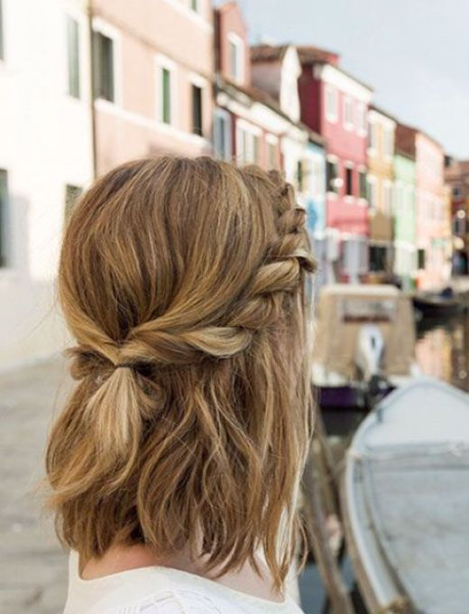 A Two Strand Twist Along Each Side Of Your Bangs Connects In The Back To Create Sweet Half Up Hairstyle That Perfectly Accentuates Medium Length