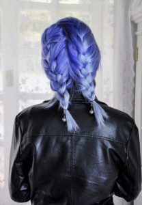 blue color melt french braids