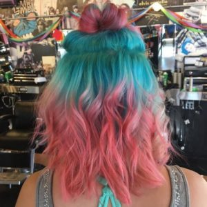 bold teal roots