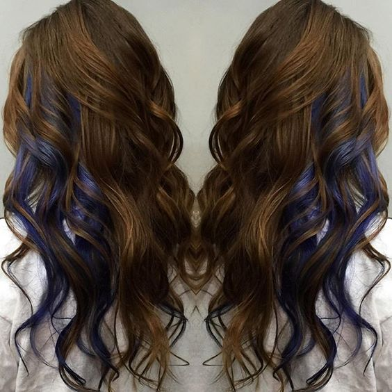 35 gorgeous peekaboo highlights to enhance your hair a dark shade of eggplant helps to enhance a natural brown base color creating a look thats more dark and edgy than basic blonde highlights pmusecretfo Gallery