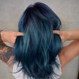 denim blue with teal