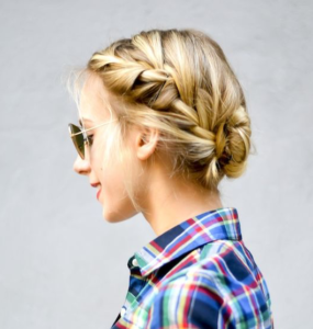 french braid pinned updo