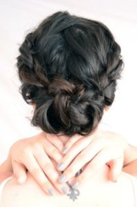 french braids low bun