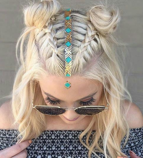 30 boho and hippie hairstyles for chill vibes all year long lots of hippie hairstyles revolve around having super long hair but this look proves that mid length cuts can look boho chic with a pair of dutch braids urmus Image collections