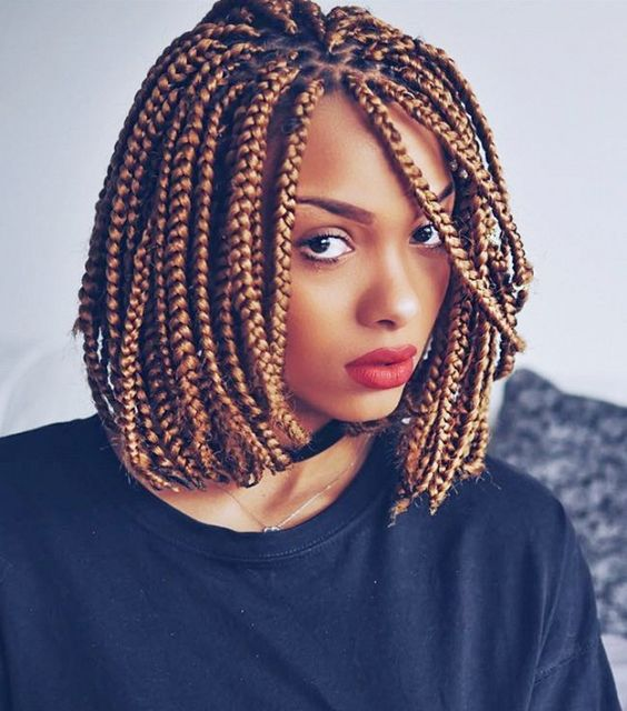 Short Box Braids Hairstyles For Chic Protective Looks - Bob hairstyle with braids