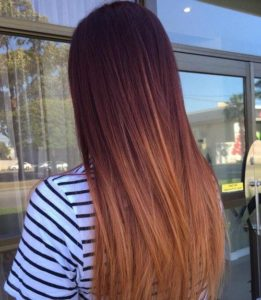 mahogany with copper ombre