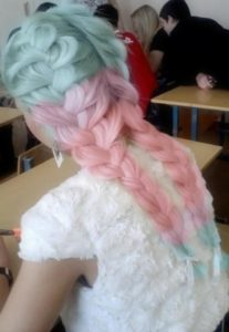 pastel french braids