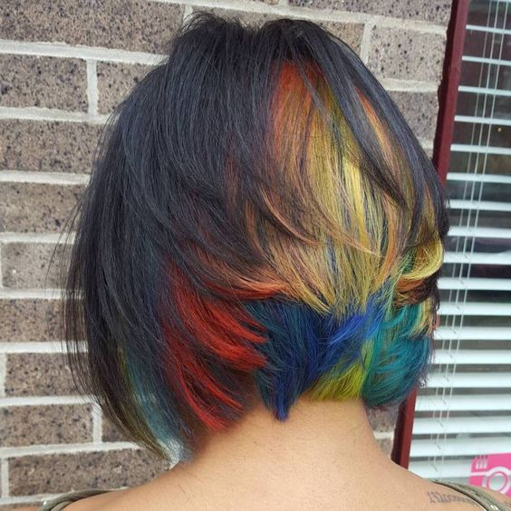 35 gorgeous peekaboo highlights to enhance your hair part 3 layered bobs offer tons of opportunity to use peekaboo highlights and this style goes for maximum impact with a full section of rainbow color in the back pmusecretfo Gallery