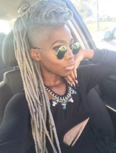 shaved sides faux locs