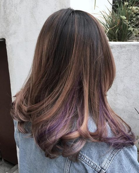 35 gorgeous peekaboo highlights to enhance your hair part 3 with an interesting combination of highlights and lowlights this medium brown base color gets enhanced by a soft blonde balayage on top and hints of purple pmusecretfo Gallery