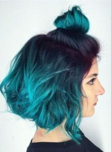 teal bob with purple root