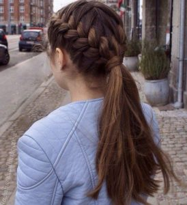 two french braid ponytail