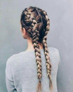 two inverted french braids