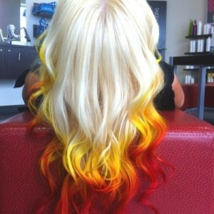yellow and red dip dye