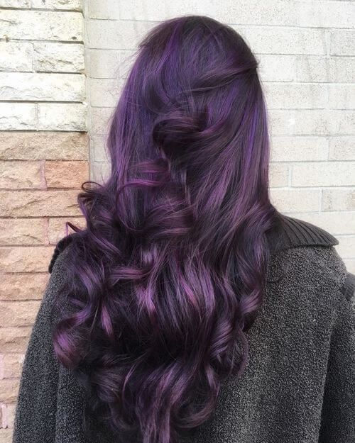35 bold and provocative dark purple hair color ideas dark eggplant and vibrant violet highlights make a great pairing for a doubly delicious dark purple hair color style pmusecretfo Image collections