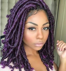Purple goddess locs