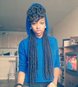 faux locs with bangs