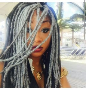 grey and black faux locs