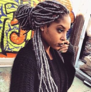 grey faux locs