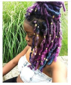 rainbow faux locs with marley hair