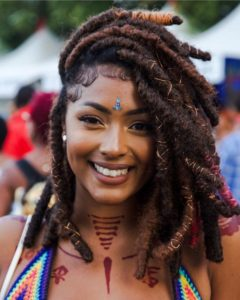 short jumbo faux locs with marley hair
